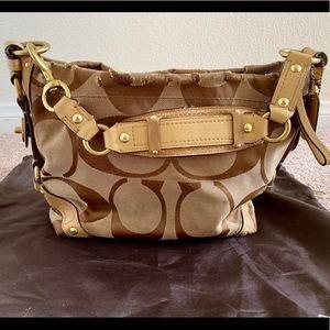 Coach Carly Signature Tan Shoulder Bag C0826-12871